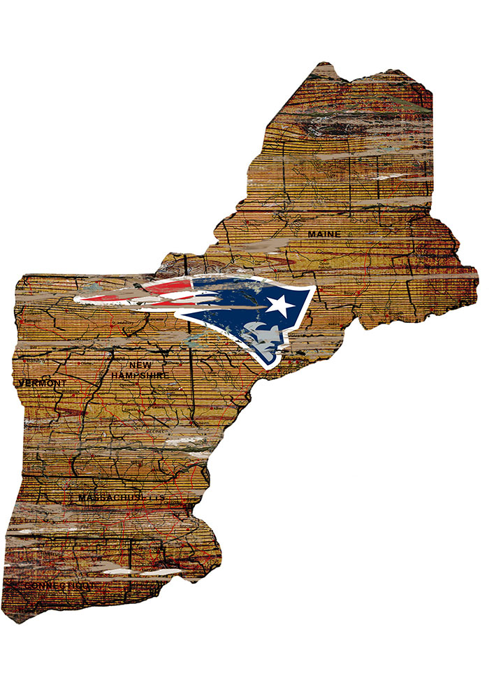 New England Patriots Distressed State 24 Inch Sign - Image 1