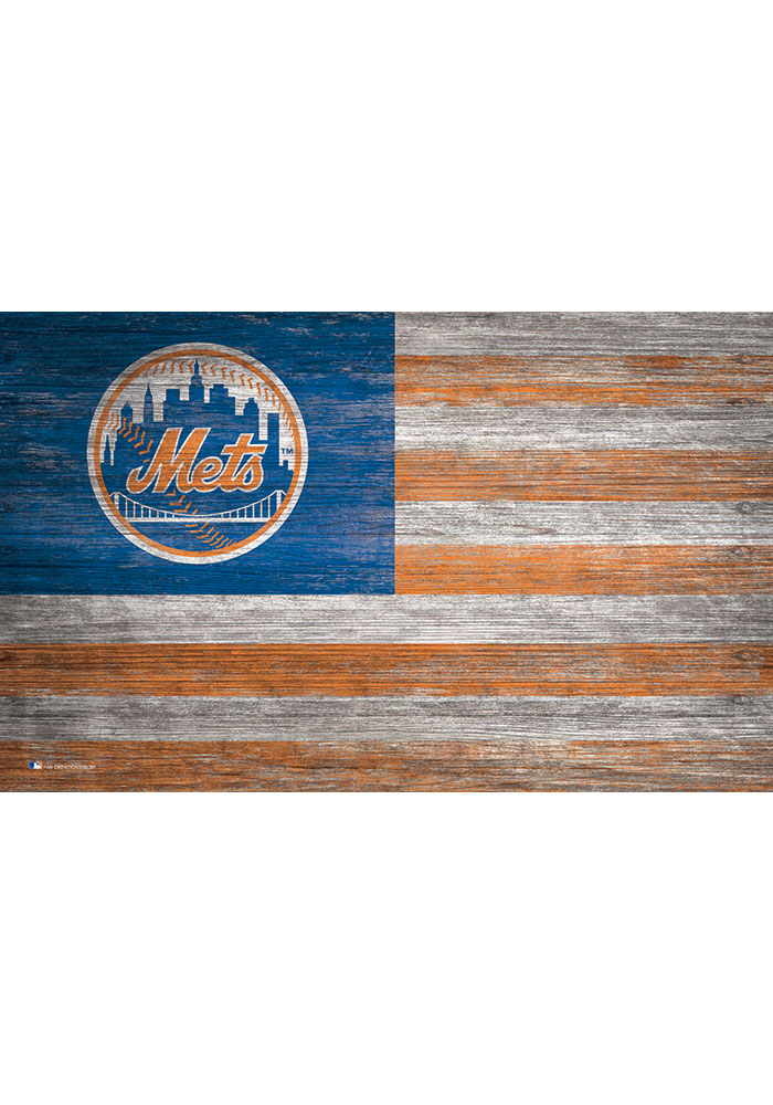 New York Mets Distressed Flag 11x19 Sign - Image 1