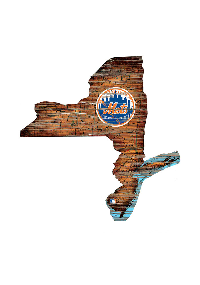 New York Mets Distressed State 24 Inch Sign - Image 1