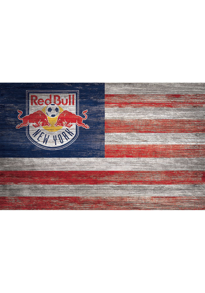 New York Red Bulls Distressed Flag 11x19 Sign - Image 1