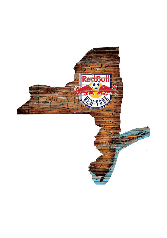 New York Red Bulls Distressed State 24 Inch Sign