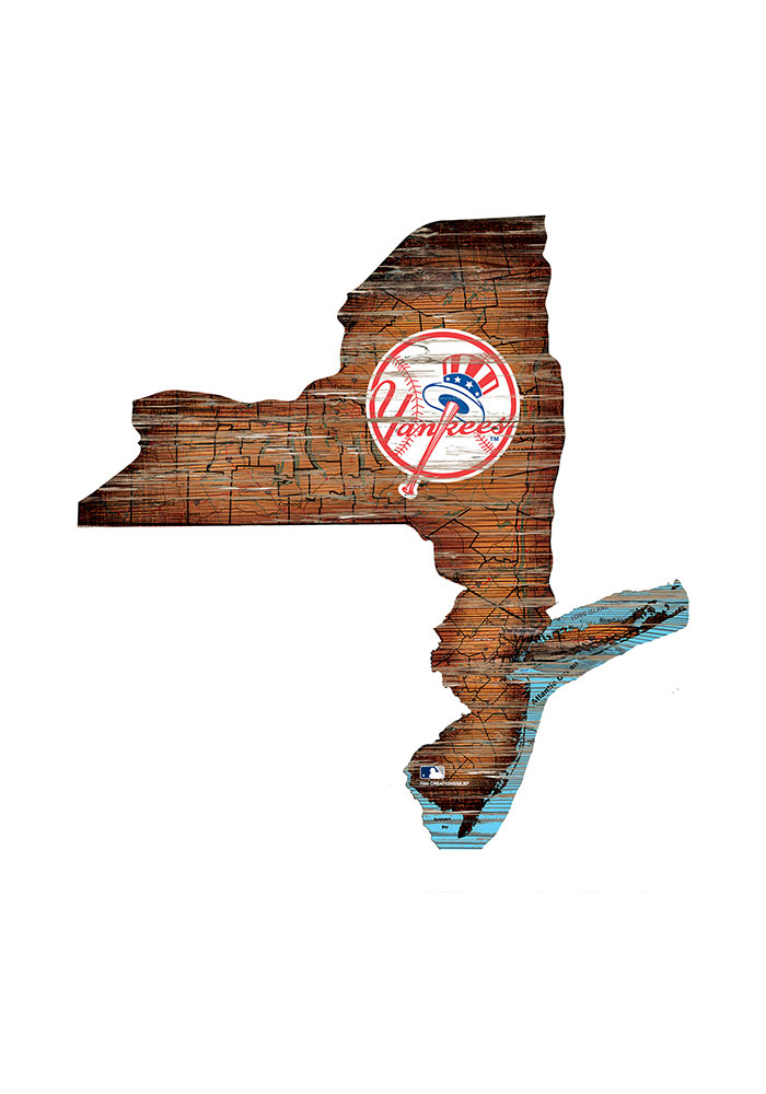 New York Yankees Distressed State 24 Inch Sign - Image 1