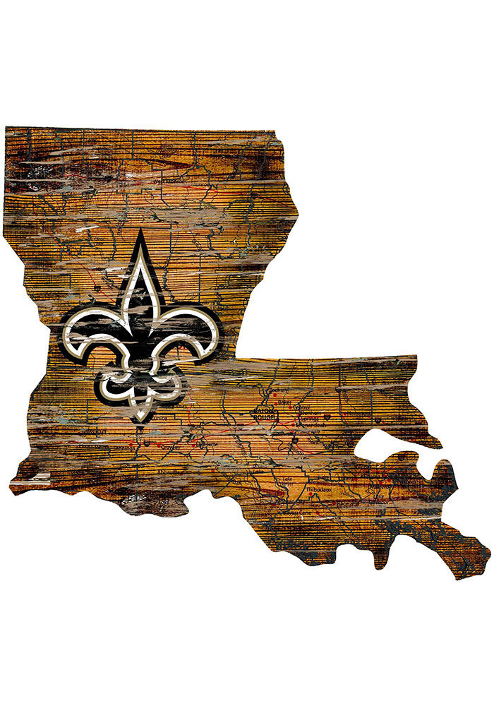 New Orleans Saints Distressed State 24 Inch Sign - Image 1