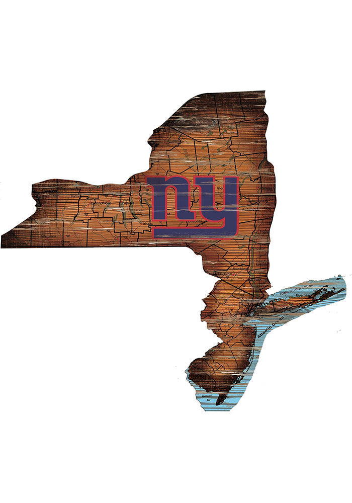New York Giants Distressed State 24 Inch Sign - Image 1
