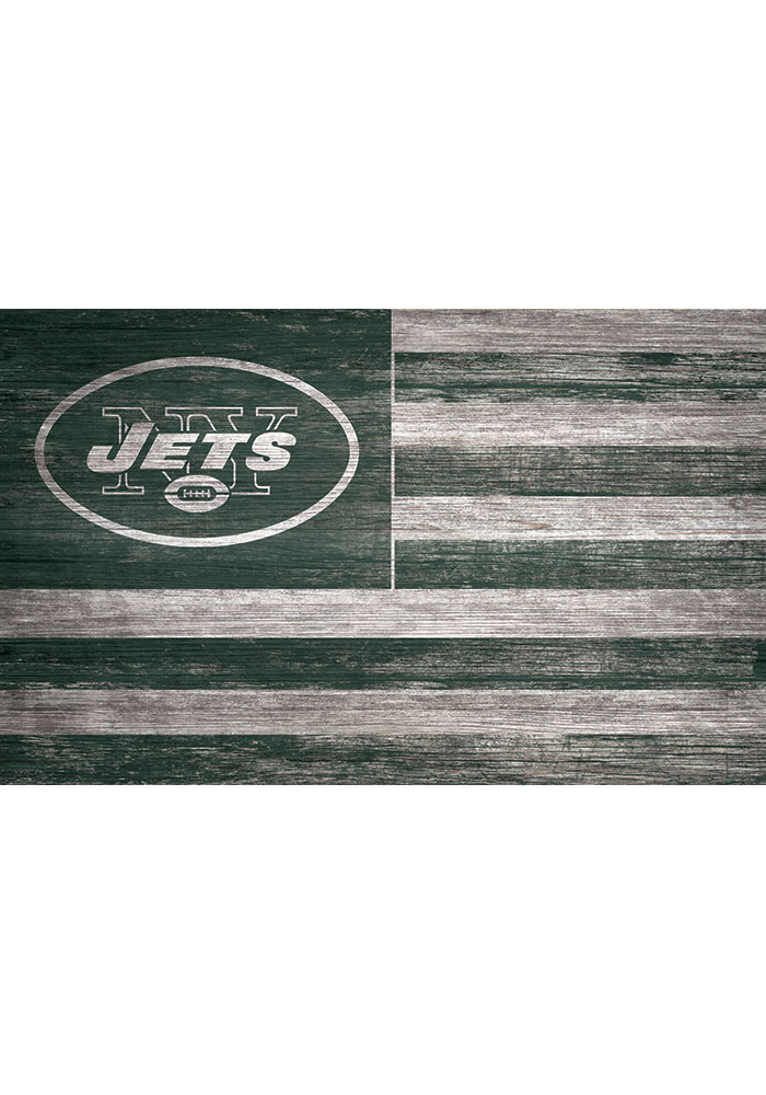 New York Jets Distressed Flag 11x19 Sign - Image 1