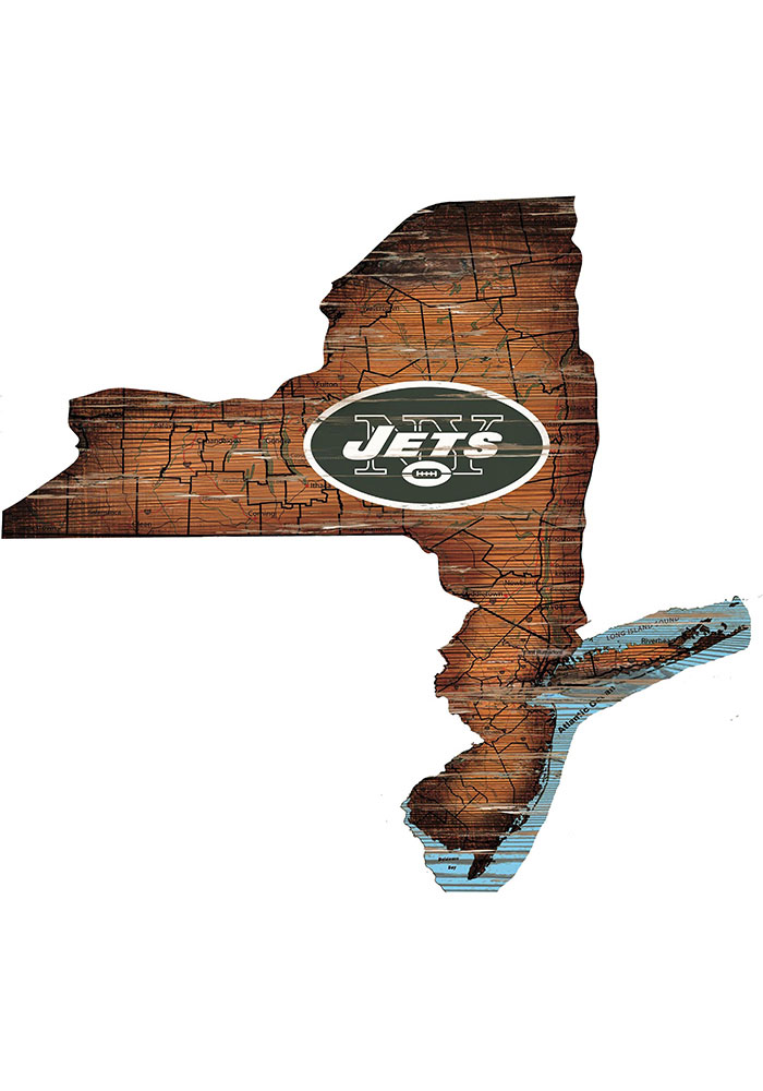 New York Jets Distressed State 24 Inch Sign - Image 1