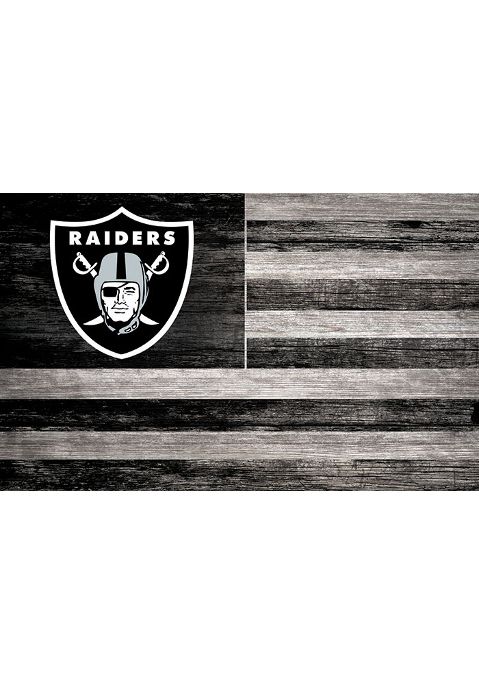 Oakland Raiders Distressed Flag 11x19 Sign - Image 1
