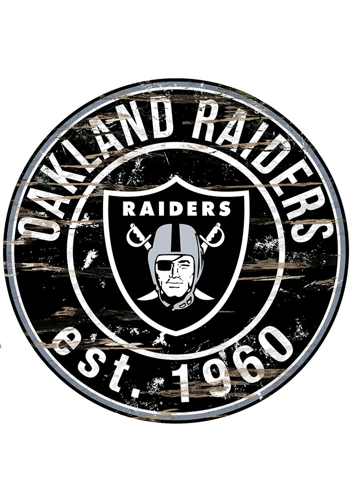 Oakland Raiders Established Date Circle 24 Inch Sign - Image 1