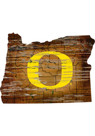 Oregon Ducks Distressed State 24 Inch Sign