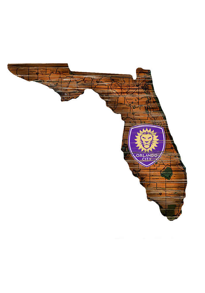 Orlando City SC Distressed State 24 Inch Sign - Image 1