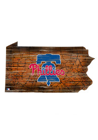 Philadelphia Phillies Distressed State 24 Inch Sign