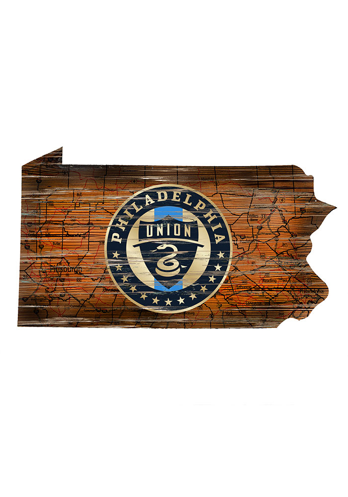 Philadelphia Union Distressed State 24 Inch Sign - Image 1