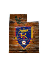 Real Salt Lake Distressed State 24 Inch Sign