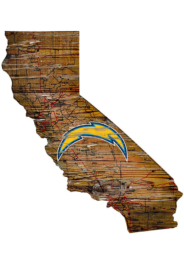 Los Angeles Chargers Distressed State 24 Inch Sign - Image 1