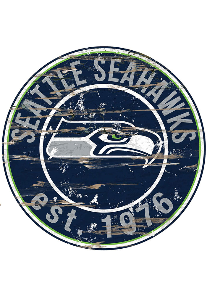 Seattle Seahawks Established Date Circle 24 Inch Sign - Image 1