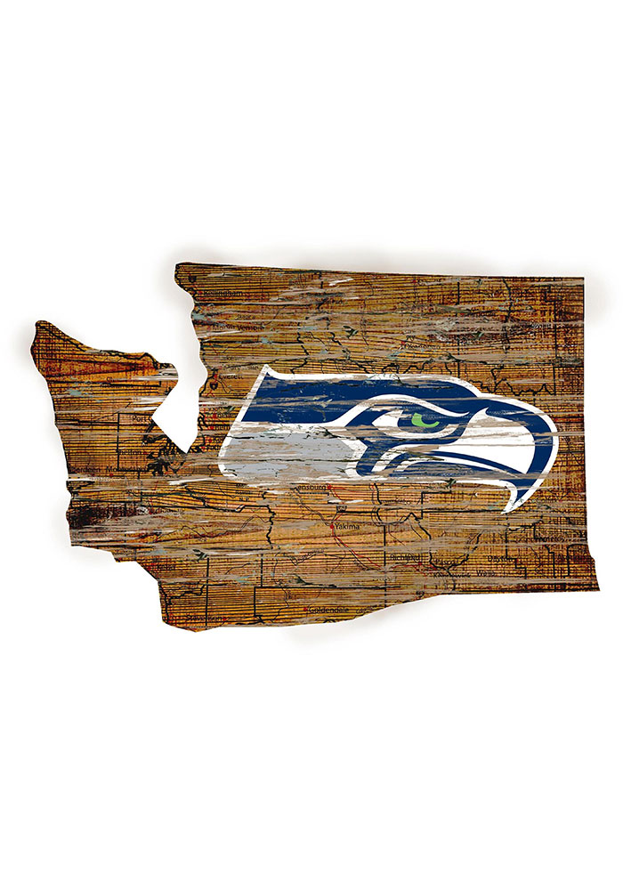Seattle Seahawks Distressed State 24 Inch Sign - Image 1