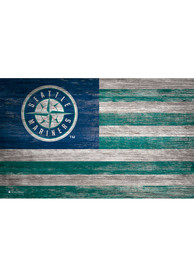 Seattle Mariners Distressed Flag 11x19 Sign