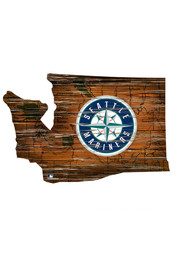 Seattle Mariners Distressed State 24 Inch Sign