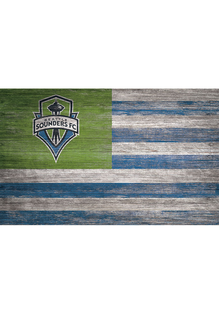 Seattle Sounders FC Distressed Flag 11x19 Sign