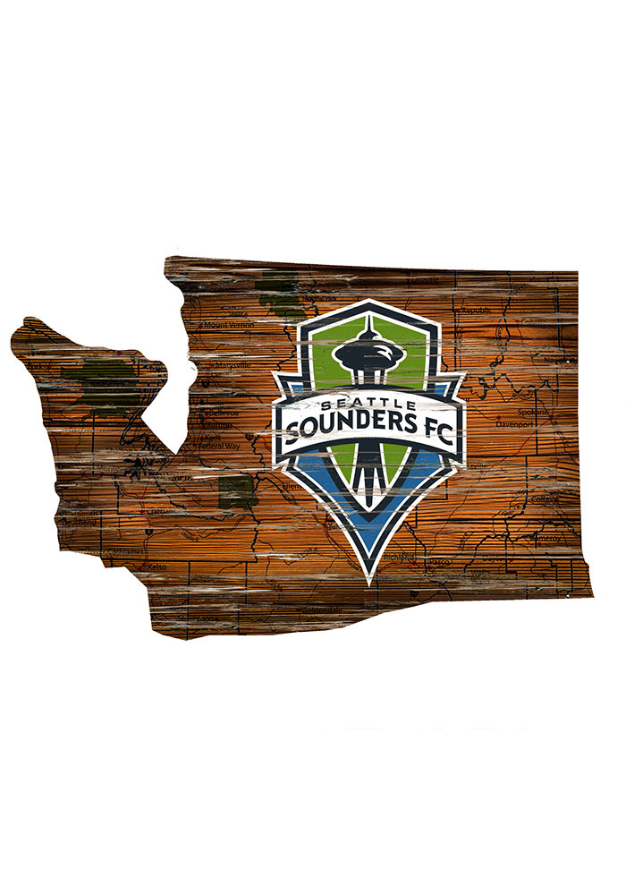 Seattle Sounders FC Distressed State 24 Inch Sign - Image 1