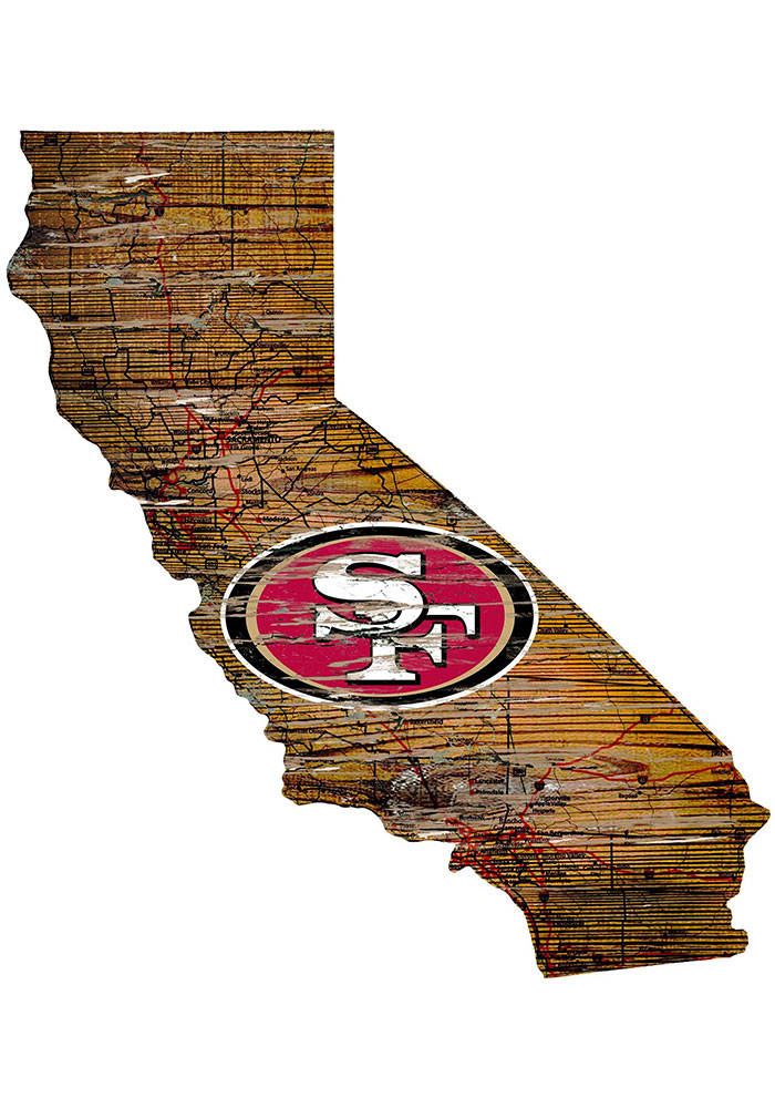 San Francisco 49ers Distressed State 24 Inch Sign - Image 1