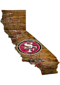San Francisco 49ers Distressed State 24 Inch Sign