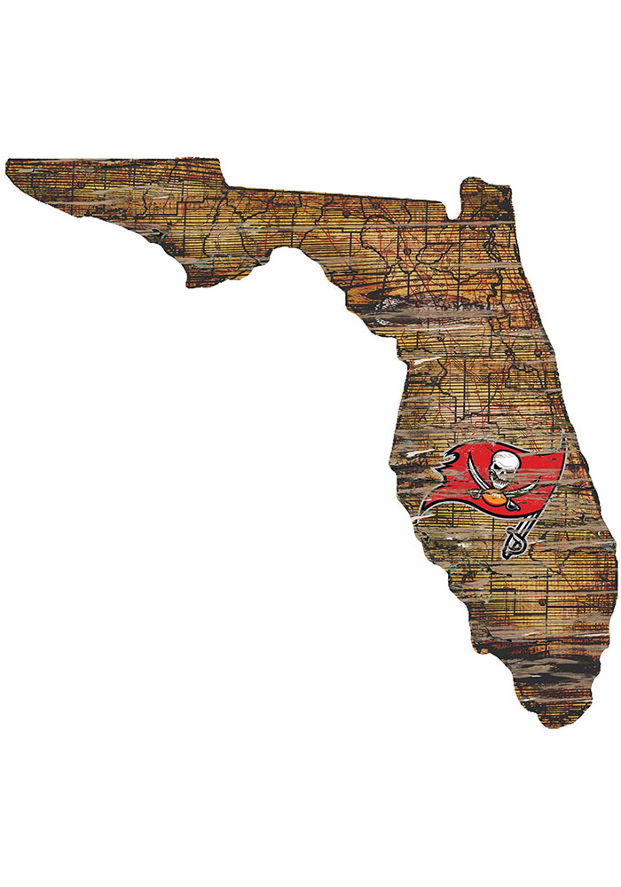 Tampa Bay Buccaneers Distressed State 24 Inch Sign - Image 1