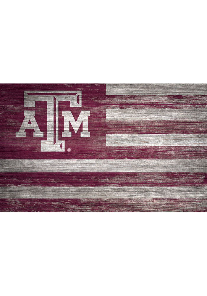 Texas A&M Aggies Distressed Flag 11x19 Sign - Image 1