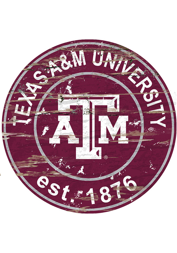 Texas A&M Aggies Established Date Circle 24 Inch Sign - Image 1