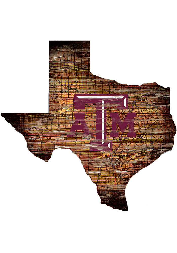 Texas A&M Aggies Distressed State 24 Inch Sign - Image 1