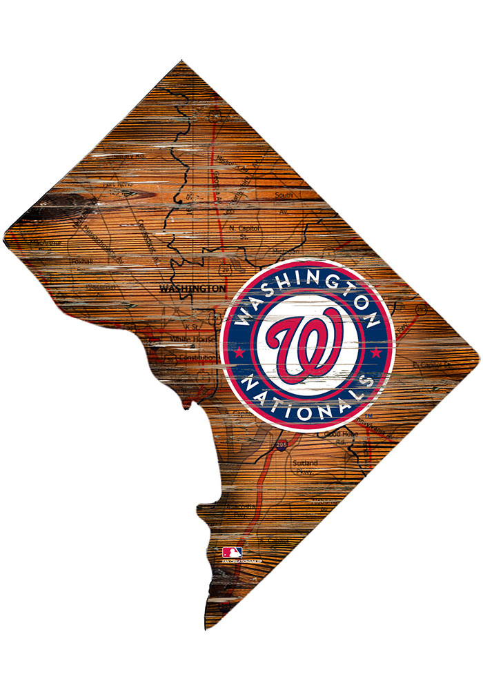 Washington Nationals Distressed State 24 Inch Sign - Image 1