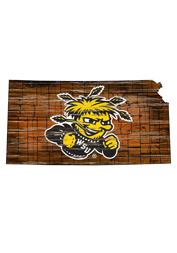 Wichita State Shockers Distressed State 24 Inch Sign - Image 1