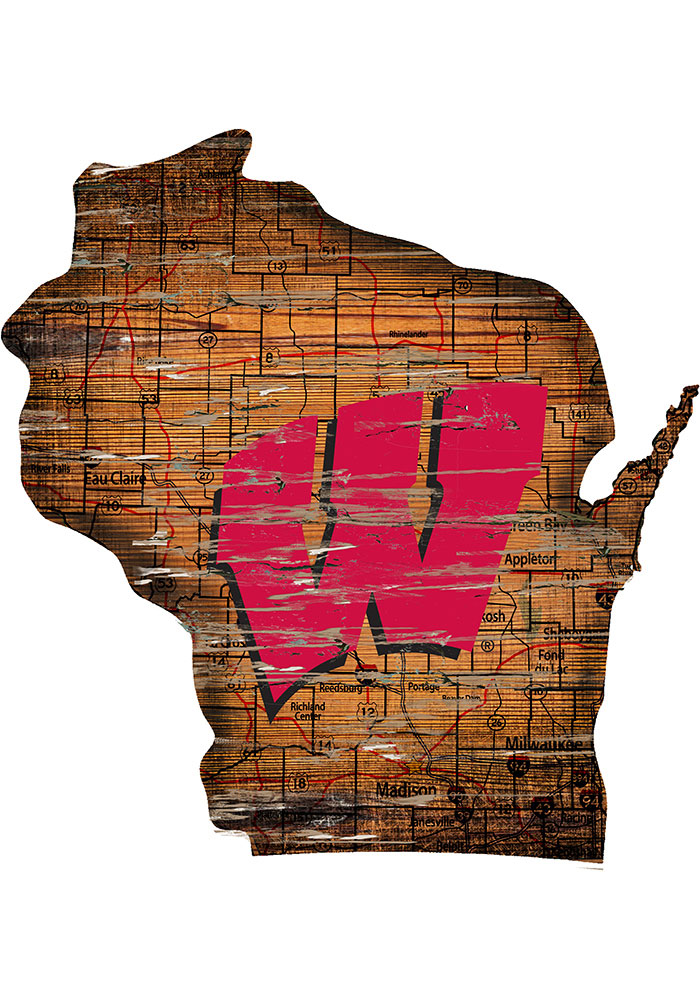 Wisconsin Badgers Distressed State 24 Inch Sign - Image 1