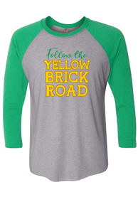 Wizard of Oz Grey Follow The Yellow Brick Road Raglan 3/4 Sleeve T Shirt