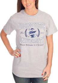Wizard of Oz Womens Grey Wicked Witch University Short Sleeve T Shirt