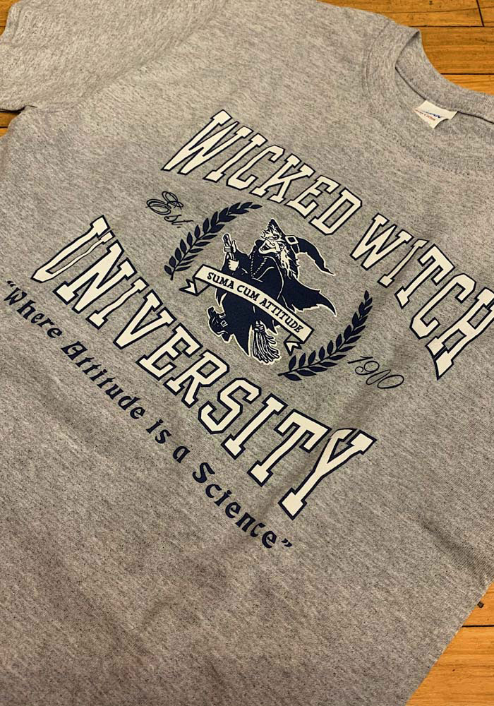 Wizard of Oz Womens Grey Wicked Witch University Short Sleeve T Shirt - Image 2
