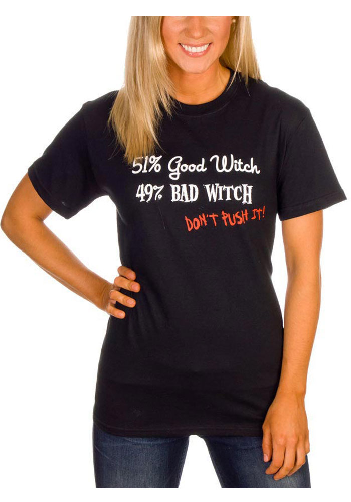 Wizard of Oz Womens Black 51% Good Witch 49% Bad Witch Short Sleeve T Shirt - Image 1
