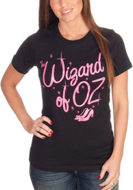 Wizard of Oz Womens Black Glitter Short Sleeve T Shirt