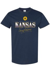 Kansas Womens Navy Blue Sunflower State Short Sleeve T Shirt