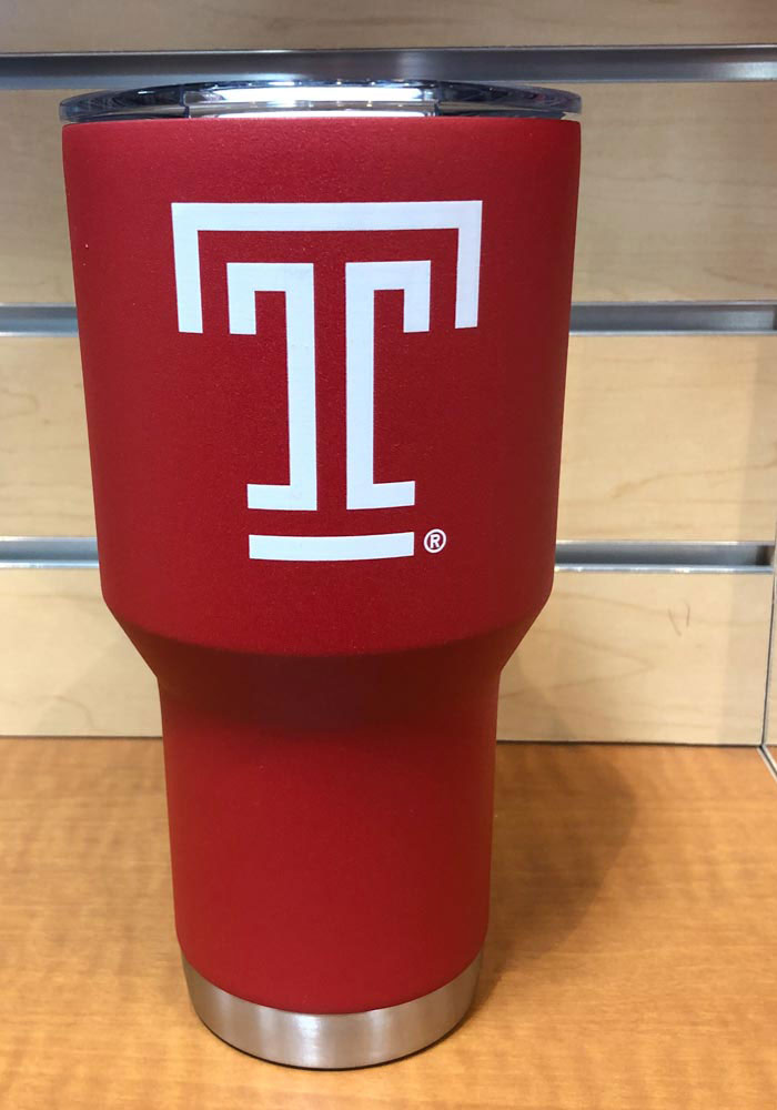 Temple Owls Team Logo 30oz Stainless Steel Tumbler - Red - Image 1