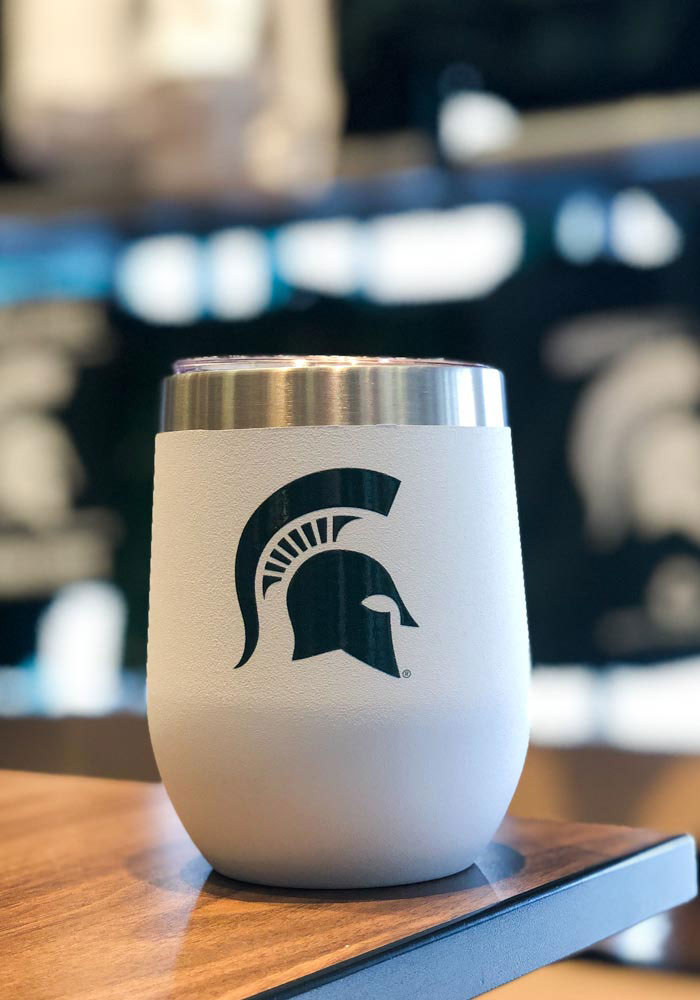 Michigan State Spartans Team Logo 12oz Stemless Wine Stainless Steel Tumbler - Grey - Image 2