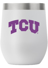 TCU Horned Frogs Team Logo 12oz Stemless Wine Stainless Steel Tumbler - Grey