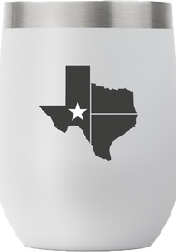 Texas Flag State Shape 12oz Stemless Wine Stainless Steel Tumbler - Grey