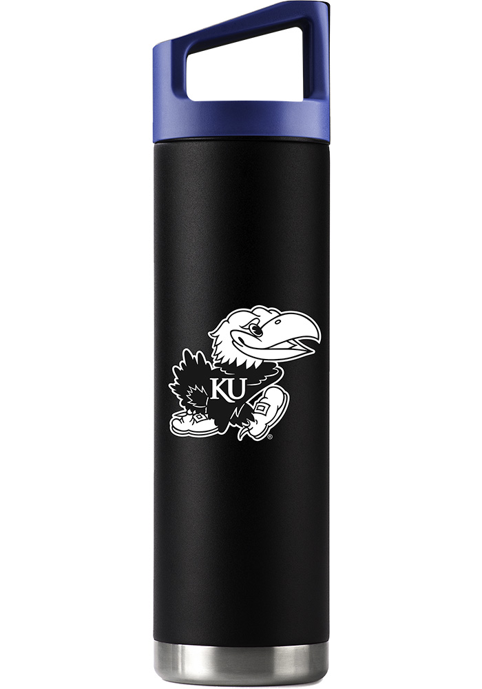 Kansas Jayhawks Team Logo 22oz Bottle with Team Color Cap Stainless Steel Tumbler - Black