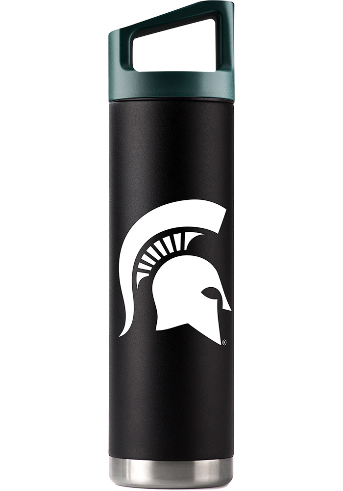 Michigan State Spartans Team Logo 22oz Bottle with Team Color Cap Stainless Steel Tumbler - Black
