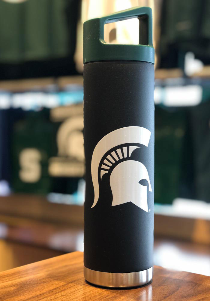 Michigan State Spartans Team Logo 22oz Bottle with Team Color Cap Stainless Steel Tumbler - Black - Image 2