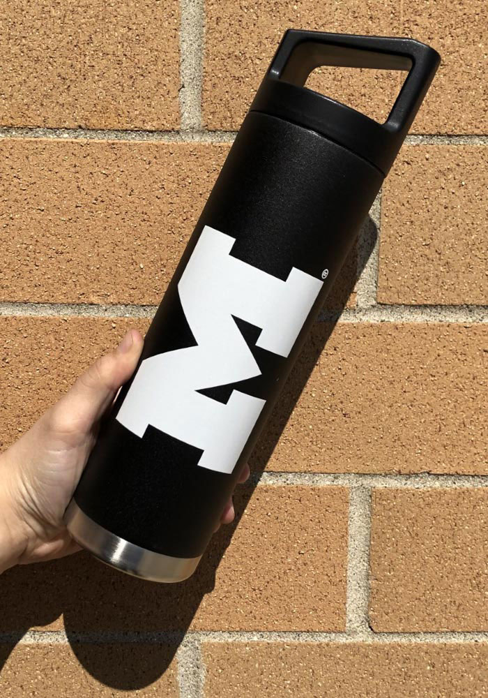 Michigan Wolverines Team Logo 22oz Bottle with Black Cap Stainless Steel Tumbler - Black - Image 2