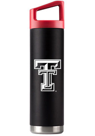 Texas Tech Red Raiders Team Logo 22oz Bottle with Team Color Cap Stainless Steel Tumbler - Black
