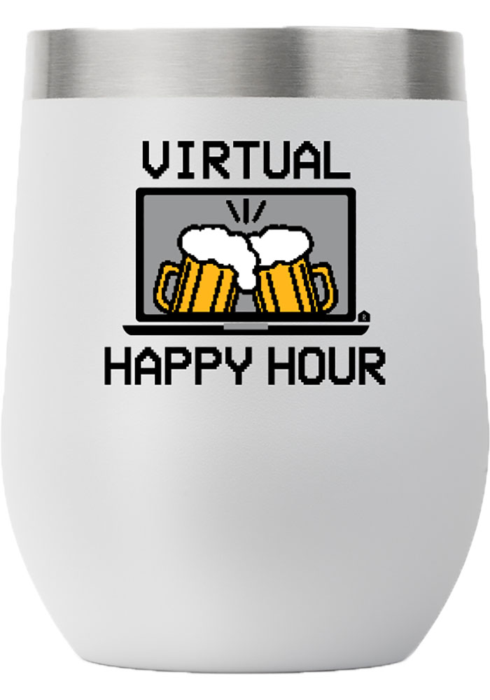 RALLY 12 oz Stemless Wine Stainless Steel Tumbler - White - Image 1
