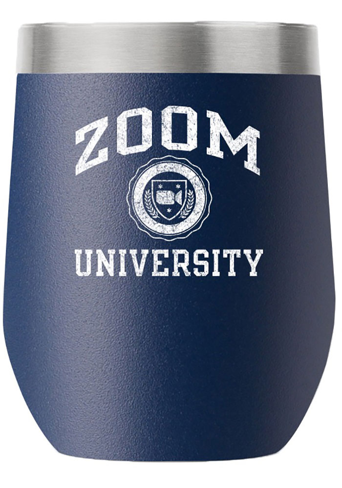 RALLY 12 oz Stemless Wine Stainless Steel Tumbler - Navy Blue - Image 1